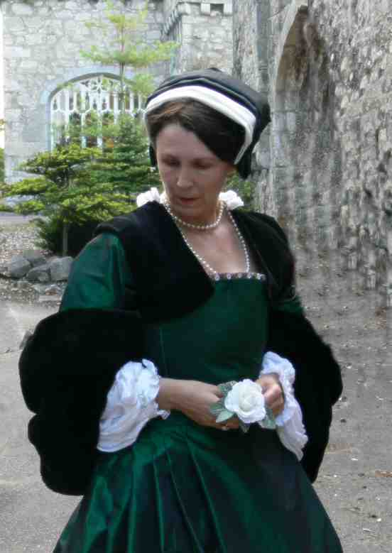 green tudor gown front | Hathaways of Haworth